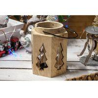 Świeczniki, KOOPMAN DECORATION Drewniany świecznik lampion - mix