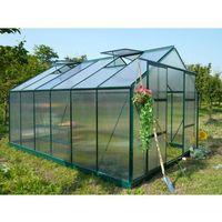 Szklarnie, Szklarnia ogrodowa z poliwęglanu o pow. 13 m² KALIDA z podstawą - Zielona