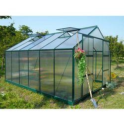 Szklarnia ogrodowa z poliwęglanu o pow. 13 m² KALIDA z podstawą - Zielona