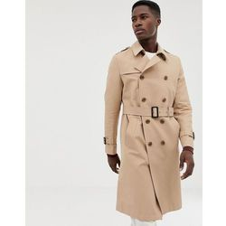 ASOS DESIGN shower resistant longline trench coat with belt in stone - Stone