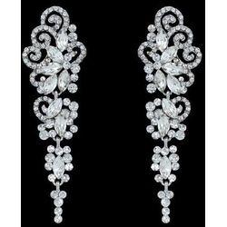 Kolczyki srebrne cyrkonie kryształki ślubne długie