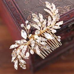 Ozdoba grzebyk do włosów ślubna cyrkonie złota