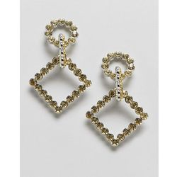 ASOS DESIGN earrings with linked crystal shapes in silver - Silver