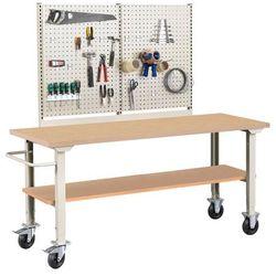 Mobilny stół roboczy ROBUST, z wyposażeniem, 2000x800 mm, płyta HDF