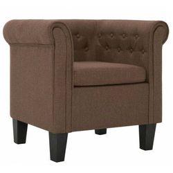 Brązowy fotel w stylu chesterfield - Roter