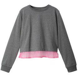 Bluza z koszulową wstawką bonprix szary melanż - jasnoróżowy