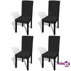 vidaXL 130342 Elastyczne pokrowce na krzesło czarne 4 szt. Darmowa wysyłka i zwroty