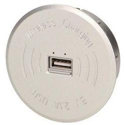 Ładowarka bezprzewodowa z portem USB, srebrna, OR-AE-1367/G