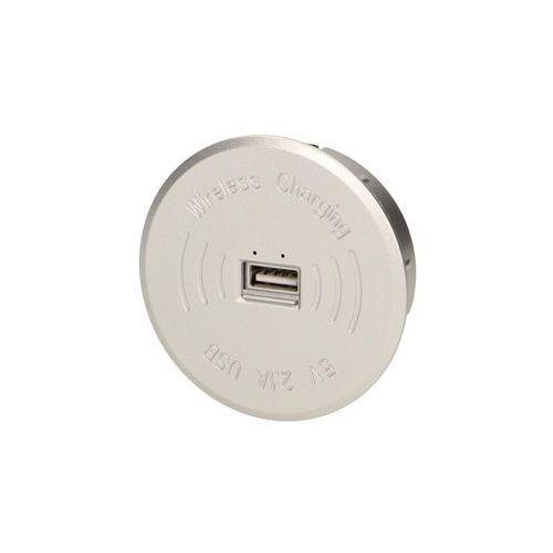 Ładowarki do akumulatorków, Ładowarka bezprzewodowa z portem USB, srebrna, OR-AE-1367/G