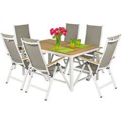 Meble ogrodowe aluminiowe VERONA LEGNO Stół i 6 krzeseł - białe - Deski polywood Meble VERONA LEGNO (-11%)