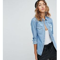 ASOS DESIGN Tall denim fitted western shirt in midwash blue - Blue