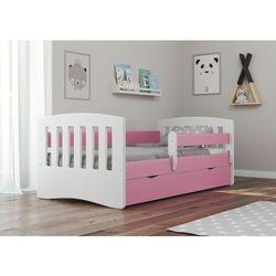 Łóżko dziecięce, barierka ochronna, classic, różowy, biały, mat