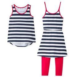 Sukienka shirtowa + top + legginsy 3/4 (kompl. 3-częściowy) bonprix biało-ciemnoniebiesko-czerwony