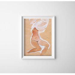 Plakat w stylu vintage Plakat w stylu vintage Siedząca naga dziewczyna Egon Schile