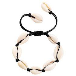 Bransoletka damska sznurek muszle muszelki czarna