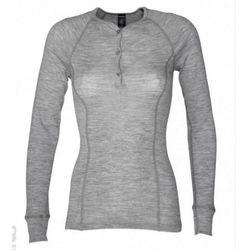 Koszulka damska z wełny merynosów (100%) - długie rękawy, dopasowana, z guzikami - szary melanż (prod. DILLING)