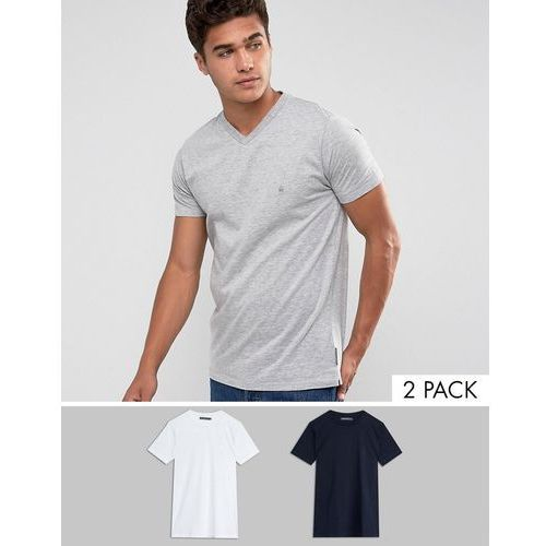 T-shirty męskie, French Connection 2 Pack T-Shirt - Navy
