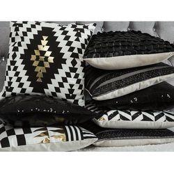 Poduszka dekoracyjna pasiasta skóra ekologiczna czarna 45 x 45 cm
