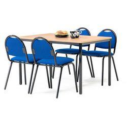 Zestaw do stołówki, stół 1200x800 mm, buk + 4 krzesła niebieski/czarny
