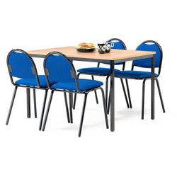 Zestaw mebli do stołówki, stół 1200x800 mm, buk + 4 krzesła, niebieski/czarny