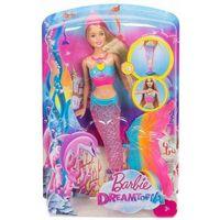 Lalki dla dzieci, Barbie Dreamtopia Lalka Tęczowa syrenka DHC40 Świeci