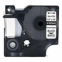 Taśma DYMO Rhino 1805442 poliestrowa 6mm x 5.5m biała czarny nadruk - zamiennik