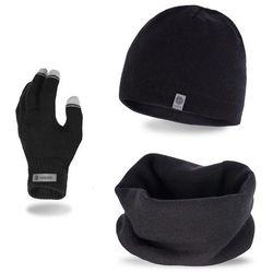 Komplet męski PaMaMi - czapka, komin i rękawiczki - Czarny