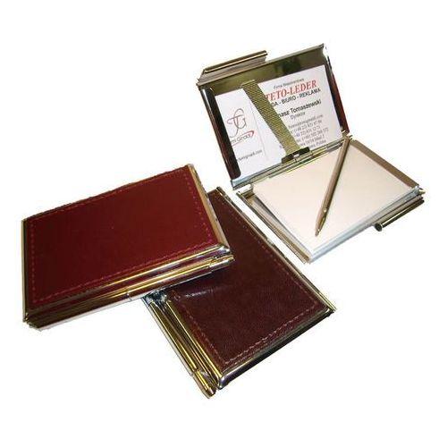 Wizytowniki, ETUI NA WIZYTÓWKI OSOBISTE KW-38E - metalowe z notesikiem i długopisem wykończone ekoskórą - z kolekcji CLASSIC TOMI GINALDI