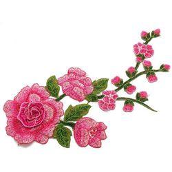 Naszywka amarantowa gałązka kwiat 29,5cm x 12,5cm - AMARANTOWA
