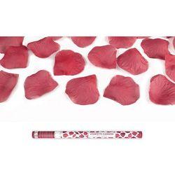 Tuba strzelająca, bordowe sztuczne płatki róż, 80 cm, 1 szt.