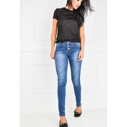 Ciemne jeansowe rurki na trzy guziki