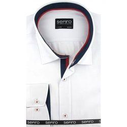 Duża Koszula Męska Sefiro gładka biała na spinki lub guzik duże rozmiary A134