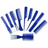 Pozostałe salony fryzjerskie i kosmetyczne, ZESTAW 10 GRZEBIENI FRYZJERSKICH PROFESJONALNE + TRANSPARENTNE ETUI NIEBIESKIE