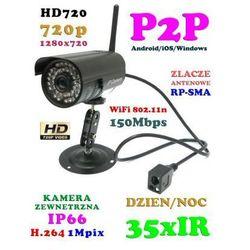 Kamera Zewnętrzna IP/WIFI/P2P HD (zasięg cały świat!!), Dzienno-Nocna (35IR) + Możliwość Zapisu itd.