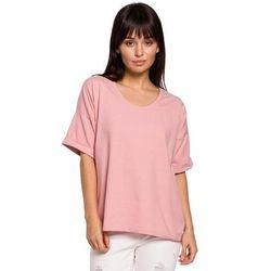 B147 T-shirt oversize z dekoltem i haftem - różowy