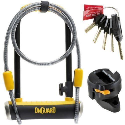 Zabezpieczenia do roweru, Zapięcie U-lock ONGUARD Pitbull Mini LS 8007DT z linką czarny-żółty / Rozmiar: 120 cm 9 x 24 cm