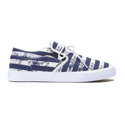 Męskie obuwie sportowe, buty SUPRA - Cuba Navy Stripe-White (NST) rozmiar: 45.5