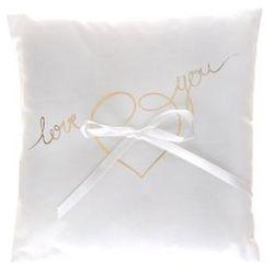 Poduszka pod obrączki biała z z napisem Love you - 1 szt.