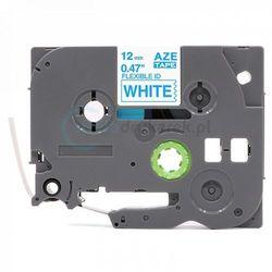 Taśma Brother Flexi TZe-FX233 biała/niebieski nadruk 12mm x 8m zamiennik