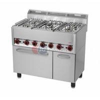 Piece i płyty grzejne gastronomiczne, Kuchnia gazowa 5-palnikowa z piekarnikiem elektrycznym Red Fox linia 600 SPT 90/5 GL