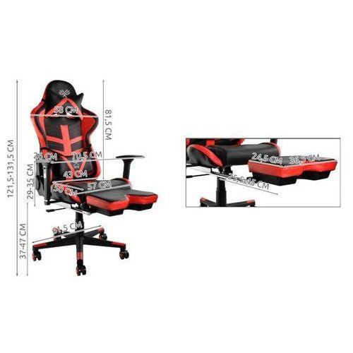Fotele dla graczy, Fotel biurowy gaminowy dla gracza regulowany Czerwono-Czarny