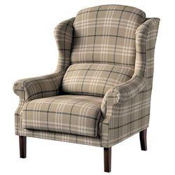 Dekoria Fotel Unique, kremowo- szara krata na beżowym tle, 85×107cm, Edinburgh