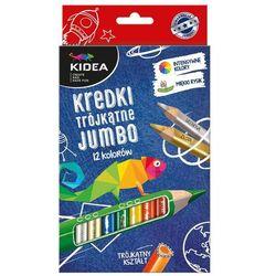 Kredki trójkątne Jumbo 12 kolorów. Kidea + zakładka do książki GRATIS