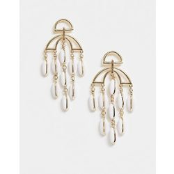 ASOS DESIGN earrings with cut out design and resin shell strands in gold - Gold