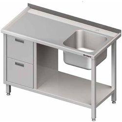 Stół ze zlewem jednokomorowym z prawej strony z blokiem dwóch szuflad i półką 1100x600x850 mm | STALGAST, 980996110