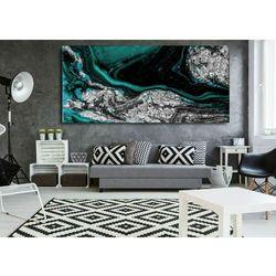 Szmaragd w srebrze - abstrakcyjne obrazy do modnego salonu rabat 40%