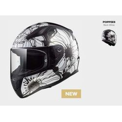 KASK MOTOCYKLOWY KASK LS2 FF353 RAPID POPPIES BLACK WHITE, model 2018!