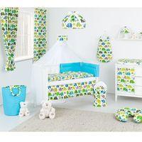 Pościel, MAMO-TATO dwustronna pościel 12-el Słoniaki zielone / niebieski do łóżeczka 60x120cm - moskitiera