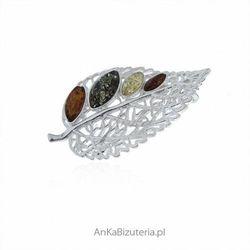 ankabizuteria.pl Broszka srebrna z kolorowym bursztynem liść grabu