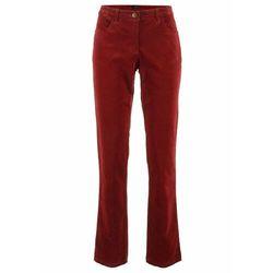 Spodnie sztruksowe ze stretchem Straight bonprix czerwony kasztanowy